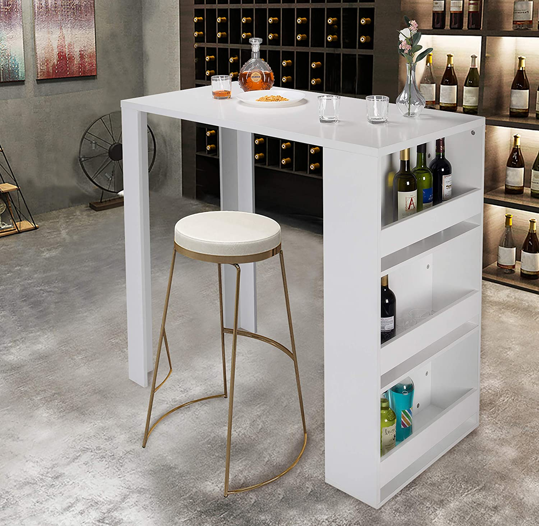 WOLTU BT24ws Tavolo da Bar Cucina Bancone da Casa Organizzatore Scaffale in Legno Bianco