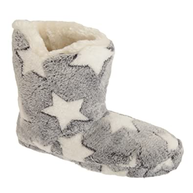 Womens/Ladies Star Print Fleece Boot Slippers (3/4 UK) (White/Blue ...