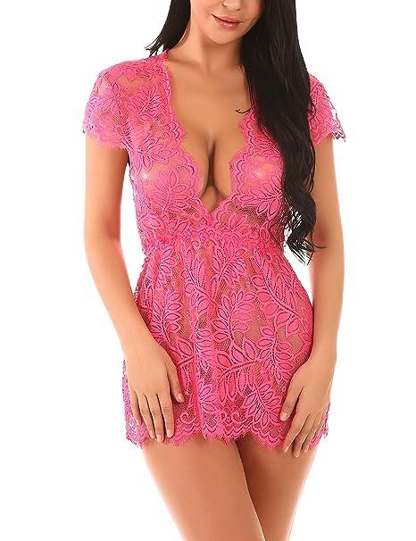36158d57ac Amazon.com  ALLUROMAN Women Romper Lingerie Deep V Teddy Eyelash Lace  Nightwear Sexy Baybydoll Set  Clothing