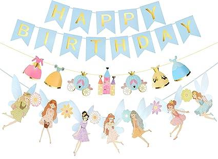 Amazon.com: Pancarta de cumpleaños para niñas con diseño de ...