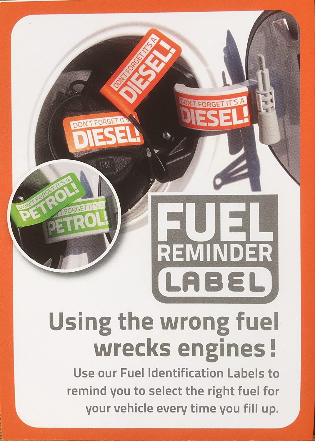 3 PETROL ONLY Engine and 3 DIESEL ONLY Engine Fuel Reminder Stickers to Label your Car Van Coach Lorry Motorbike Vehicle 28mm x 135mm