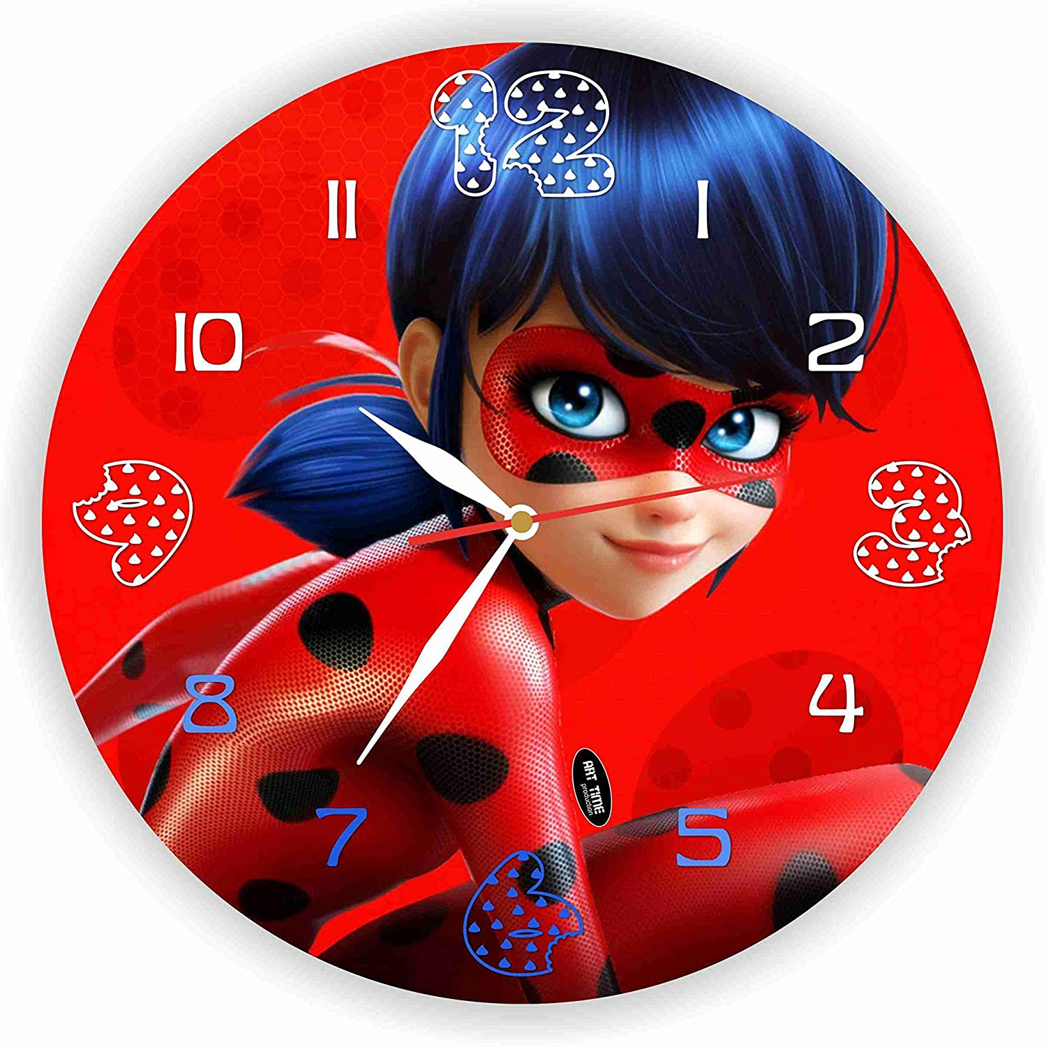 """Exclusive Clock Miraculous Tales of Ladybug & Cat Noir 11""""Inches. Plastic – Buy and give Yourself a Fairy Tale -Unique Item for Home and Office,Original Present for Every Occasion."""