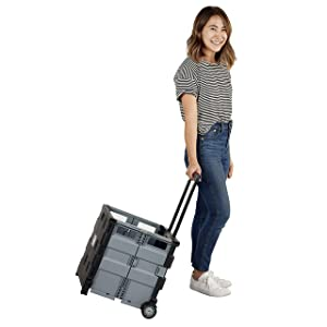 """ECR4Kids MemoryStor Universal Rolling Cart, Teacher Cart, Utility Portable Cart w/ Handle for Files, Tools, Groceries and Supplies, Folds Flat to 3 inches, Holds 65 lbs, Black, 17"""" L x 15.25"""" W x 16"""" H, Model Number: ELR-0547B"""