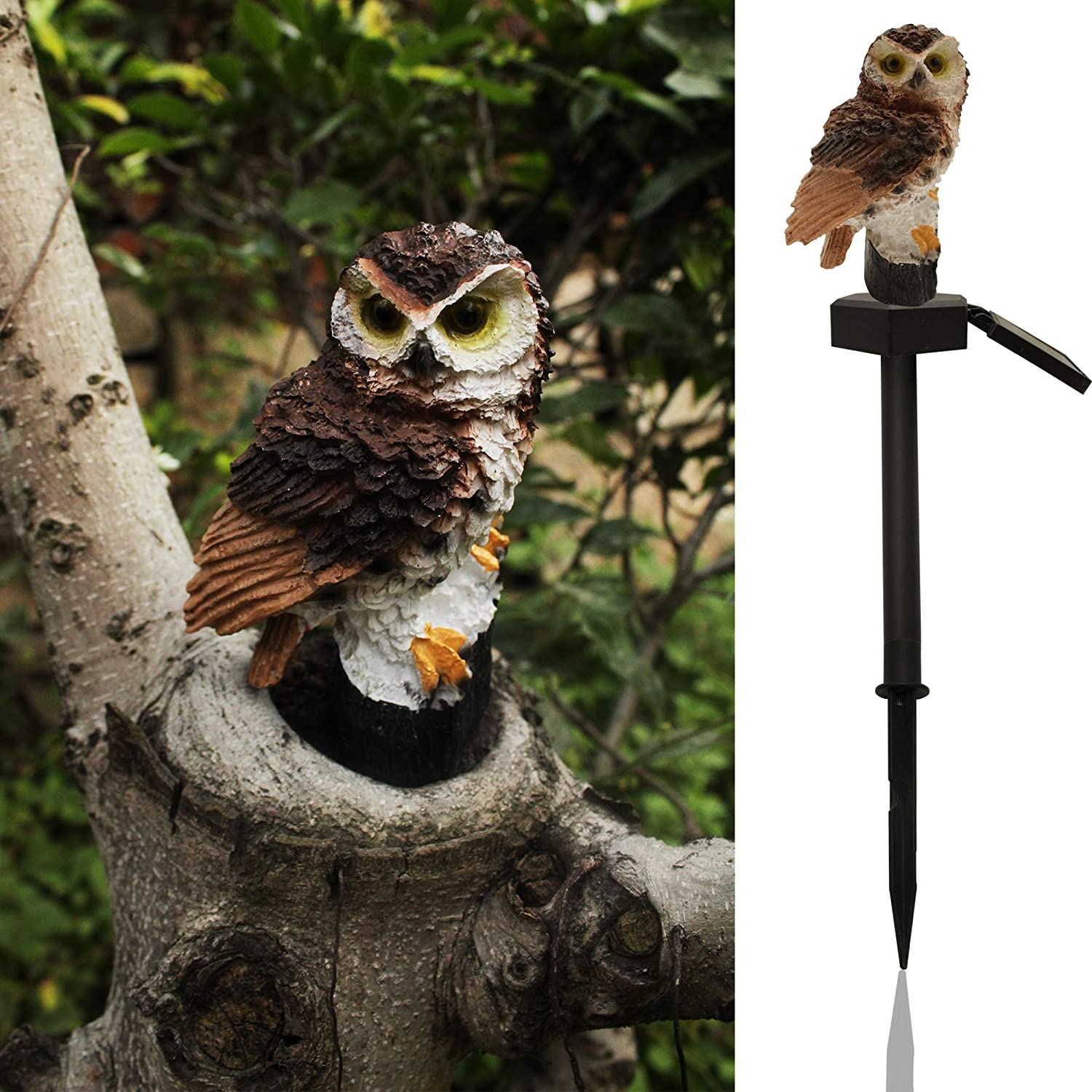 Solar Garden Lawn Light,Led Owl Shape Waterproof Outdoor Landscape Pathway Stake Light for Yard Patio Home Festival Decorative(Brown Owl)