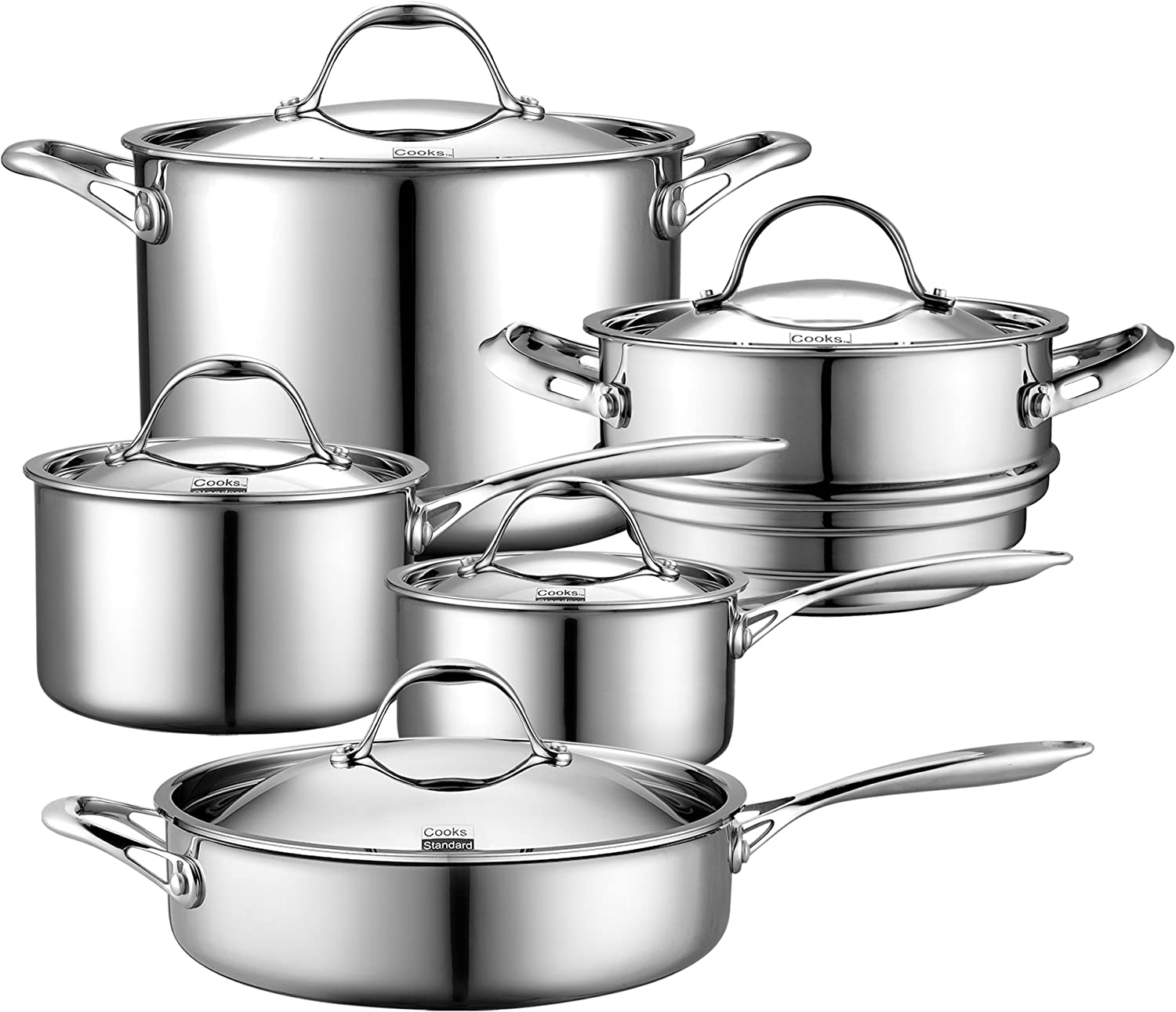 THe Best Cookware Stainless Steel Reviews. Cooks Standard 10-piece Multi-ply Clad Stainless Steel Cookware Set