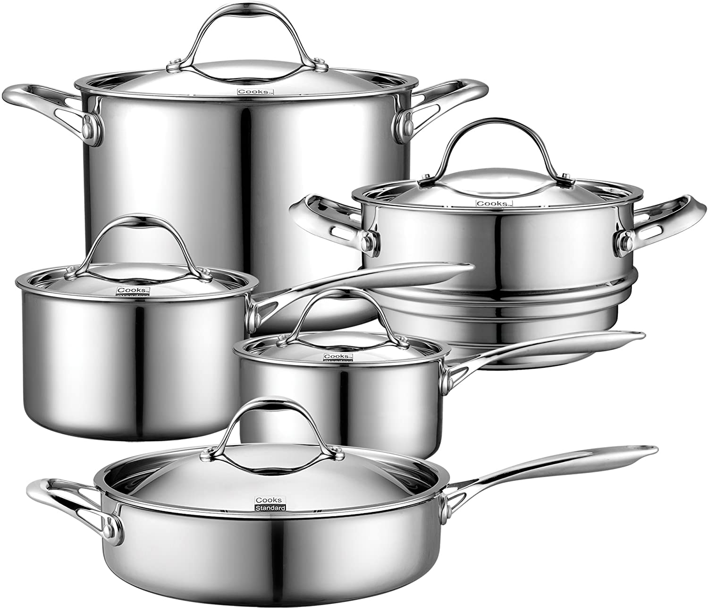 "Cooks Standard 10-Piece Stainless Steel Cookware Set. Safest Stainless Cookware: ""4 Tips on Cuisinart Pots & Pans"""
