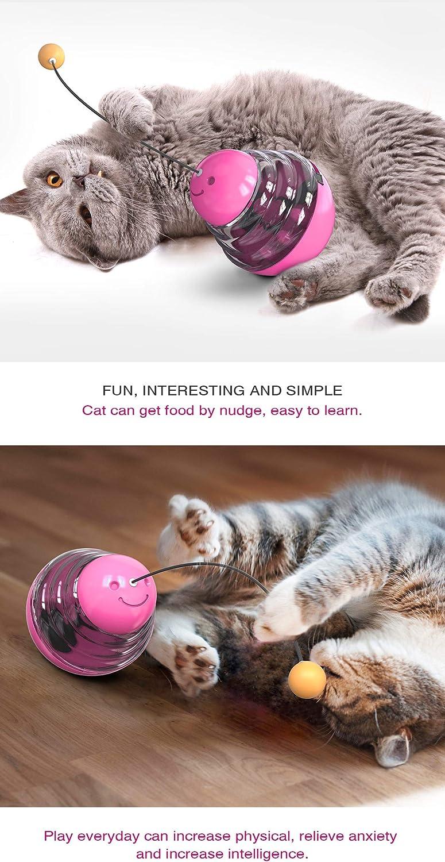 Vaso de gato de juguete para gatos y gatos dispensador interactivo de gatitos IQ de entrenamiento peque/ño dispensador de alimentos con divertido palo para perseguir comer rosa