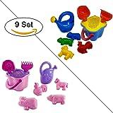 Sandkasten-Spielzeug Set 9-teilig Spielzeug für Strand, Wasser uvm. (Bunt)