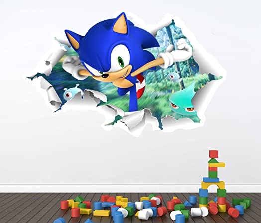SONIC THE HEDGEHOG FULL COLOUR WALL STICKER   GIRLS BOYS BEDROOM C345 Size:  Large Part 3