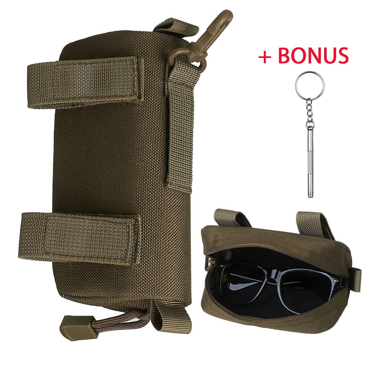Xidan 1000D Nylon Taktisch Molle Brillenetui Brillenbox mit Haken Brillenetui Box fü r Sonnenbrillen
