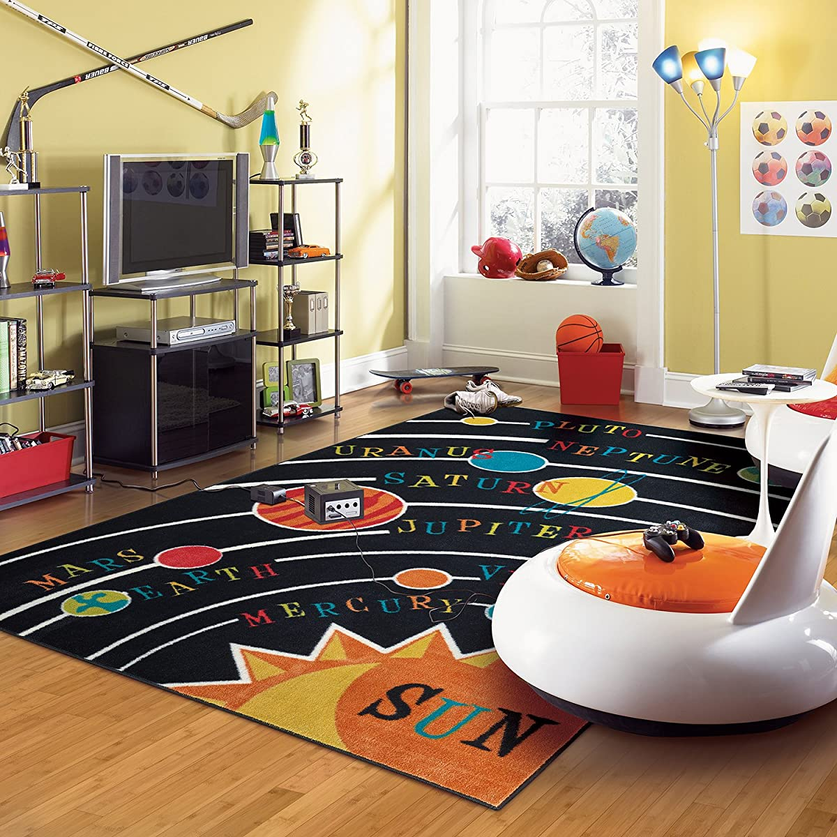 Mohawk Home Aurora Planets Solar System Colorful Printed Kids Area Rug, 5x8, Black