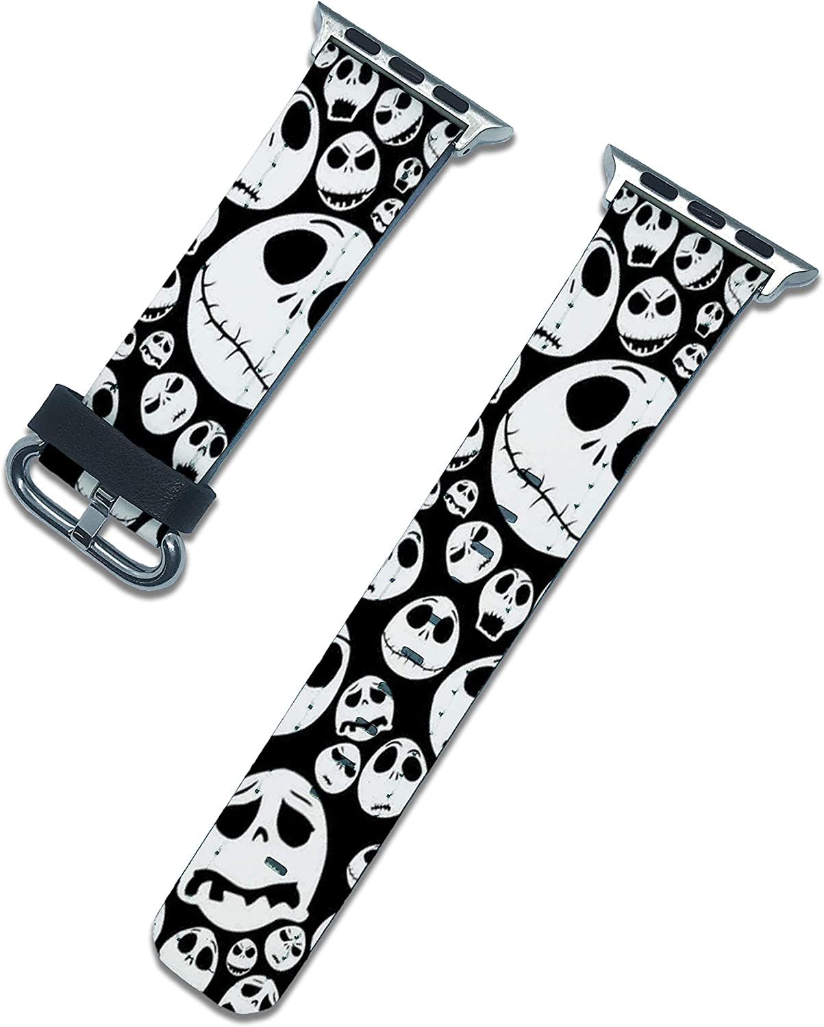 Halloween Nightmare before Christmas band compatible with apple watch series SE 6 5 4 3 44mm 40mm 42mm 38mm iWatch replacement strap pumkin design (Silver, 40/38mm)