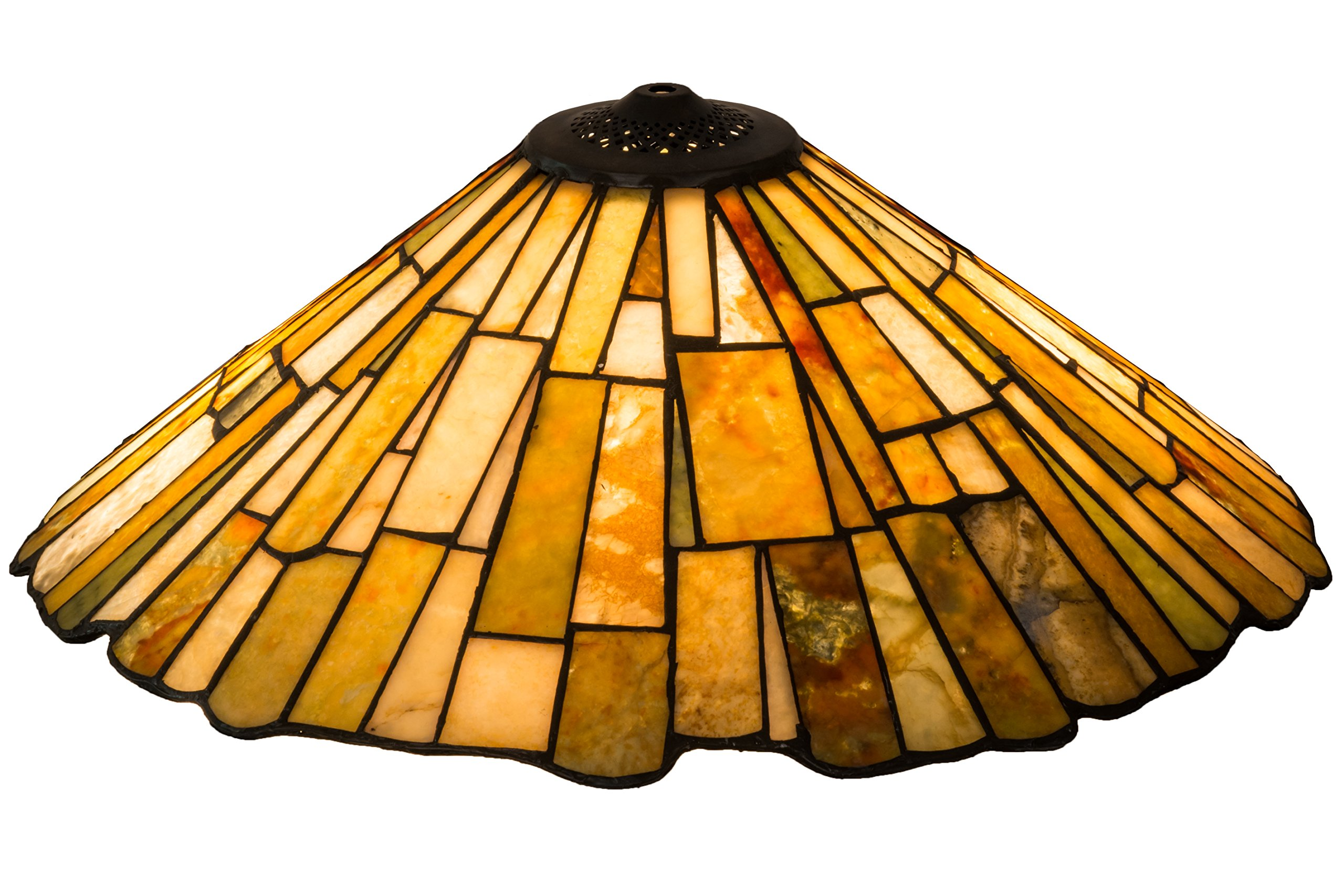 Meyda Home Decorative Art Stained Glass Lamp Fixture21''W Delta Jadestone Replacement Shade by Meyda