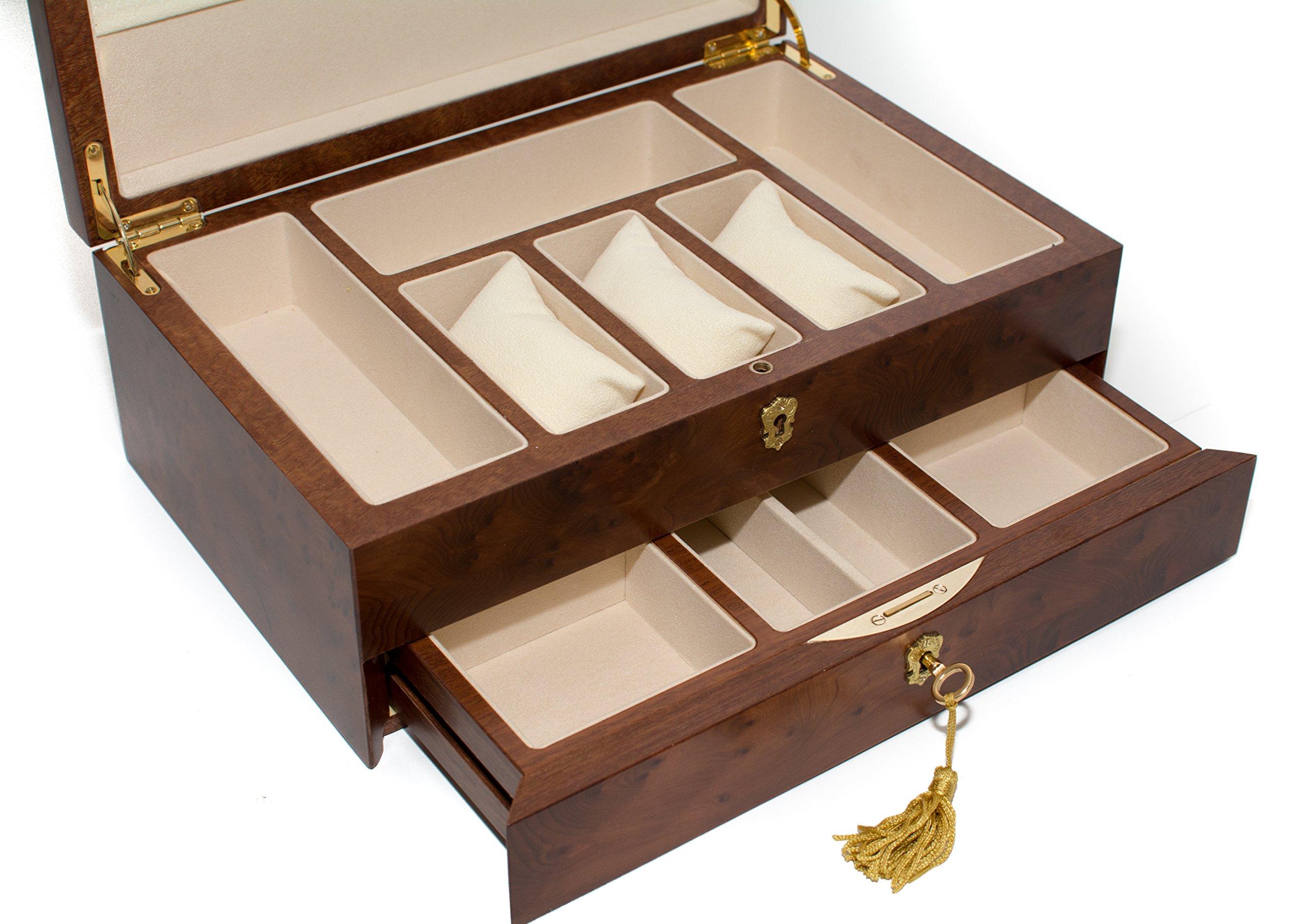 Bello Collezioni - Via Del Corso Luxury Briar Wood Men's/Women's Jewelry Box. Made in Italy by Bello Games New York, Inc. (Image #3)