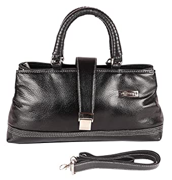 a954f93a76f5 Buy SUMANNYA Genuine Leather Executive Ladies Handbag (Black) Online at Low  Prices in India - Amazon.in