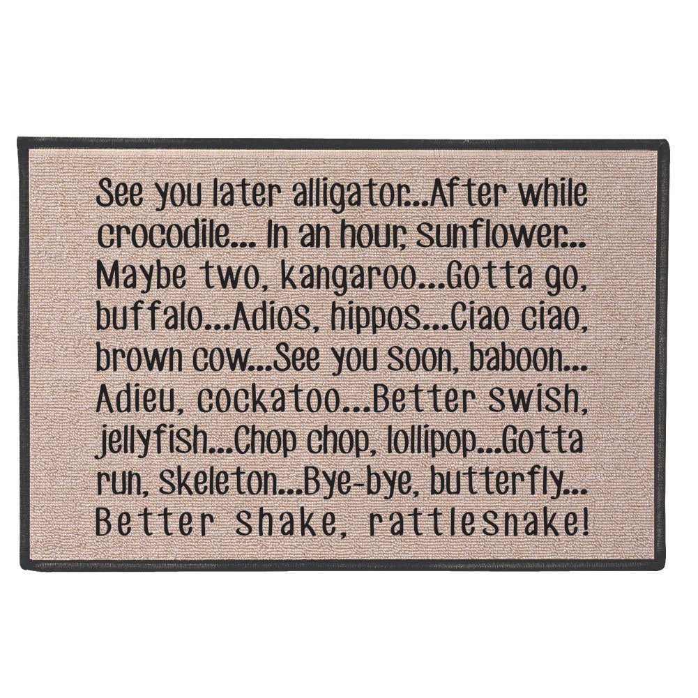 WHAT ON EARTH See You Later Alligator Doormat - 100% Olefin Welcome Rug