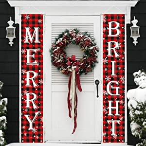 MAIAGO Christmas Decorations - Merry Bright Porch Sign - Red Buffalo Check Plaid Christmas Hanging Banners - Xmas Decor Banners for Indoor & Outdoor, Home, Wall, Front, Door, Apartment Party