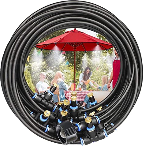 POCKET PANDA Misters for Outside Patio Fan with Filter Screen DIY 50FT, Outdoor Misting System Cooling kit with15 Brass Mist Nozzle for Pool,Umbrella,Deck,Canopy,Porch. Backyard Mist Spray Hose