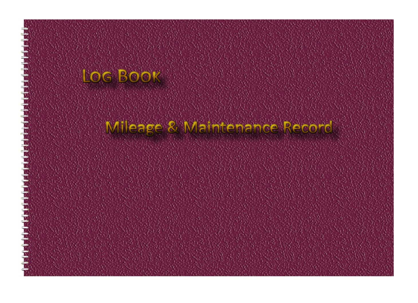 vehicle mileage log book burgundy leather print effect cover a5