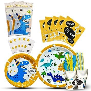WERNNSAI Vajilla de Dinosaurio Set - Suministros para la Fiesta para Chicos Niños Cumpleaños Baby Shower Boda Includes Servilletas Cubiertos Mantel ...