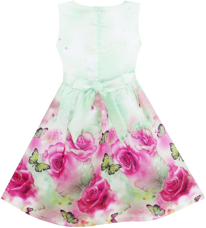 SUNNY Fashion mariposa vestidos 19994 de niña niña rosa flor ...