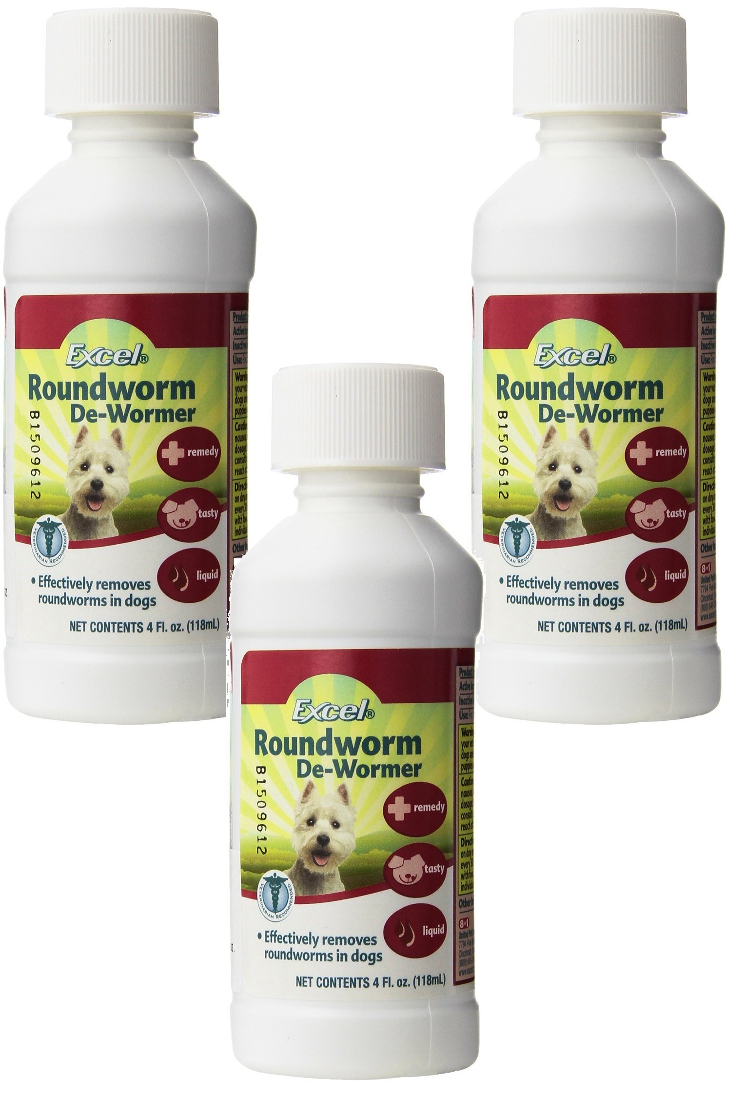 Excel Roundworm Liquid Dog De-Wormer, 4-Ounce each (3 Pack) by Excel