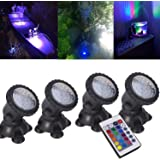 Pond Lights Remote Control Submersible Lamp [Set of 4] IP68 Underwater Aquarium Spotlight 36-LED Multi-color Decoration Landscape Lamp for Swimming Pool Fish Tank Fountain Water Rockery Grass Land