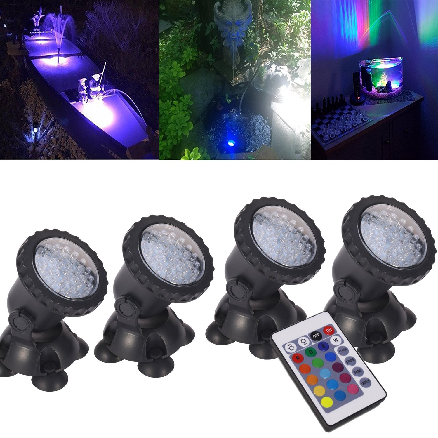 Pond Lights Remote Control Submersible Lamp [Set of 4] IP68 Underwater Aquarium Spotlight 36-LED Multi-color Decoration Landscape Lamp for Swimming Pool Fish Tank Fountain Water Rockery Grass Land by COVOART