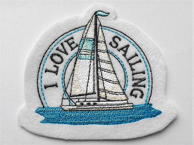 Segelboot applikation  Aufnäher maritim Segelboot I LOVE SAILING Applikation Geschenk für ...