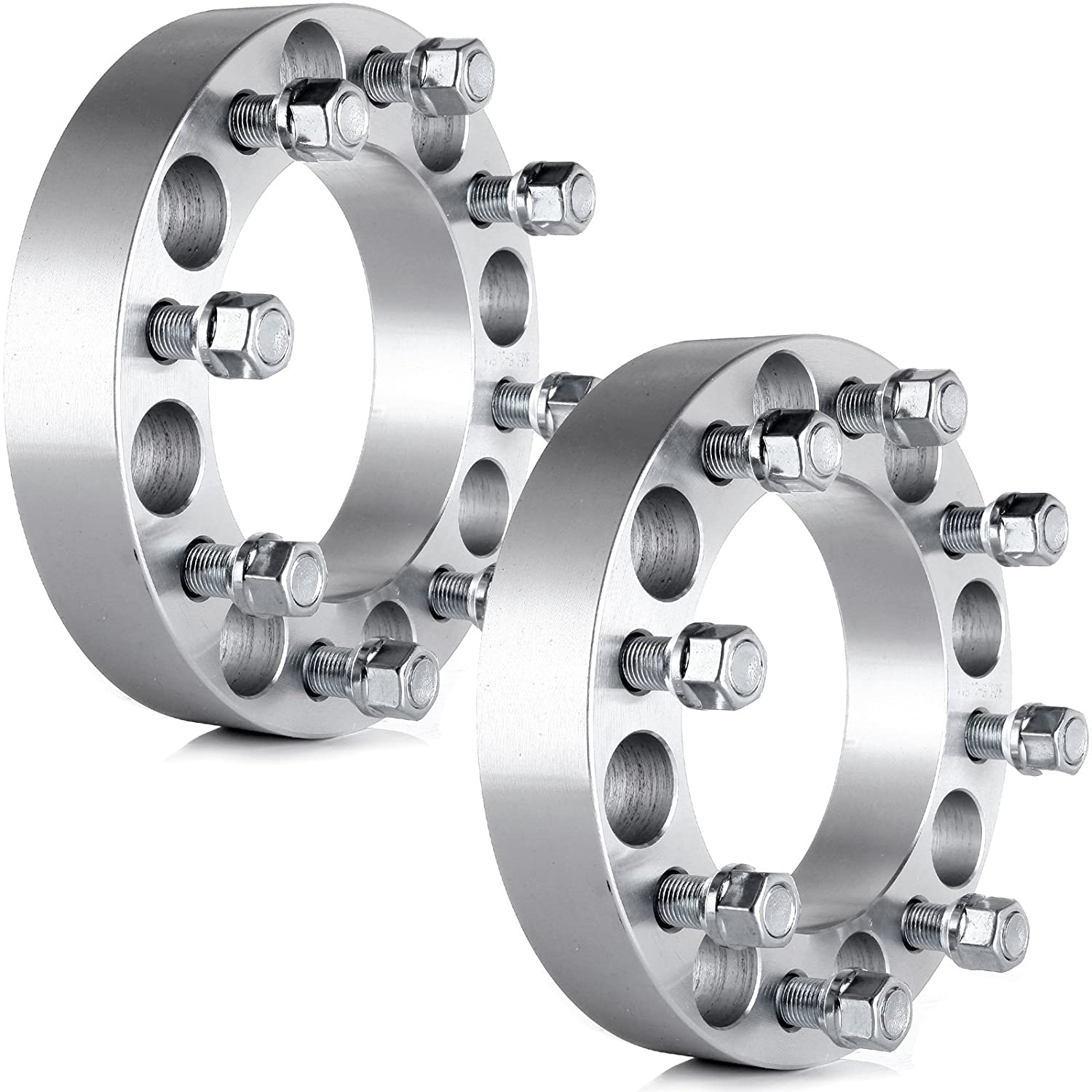 2pc 1.5 Thick 8x6.5 to 8x6.5 Wheel Spacers with 9//16 Studs for Ford Dodge Chevy Jeep GDSMOTU