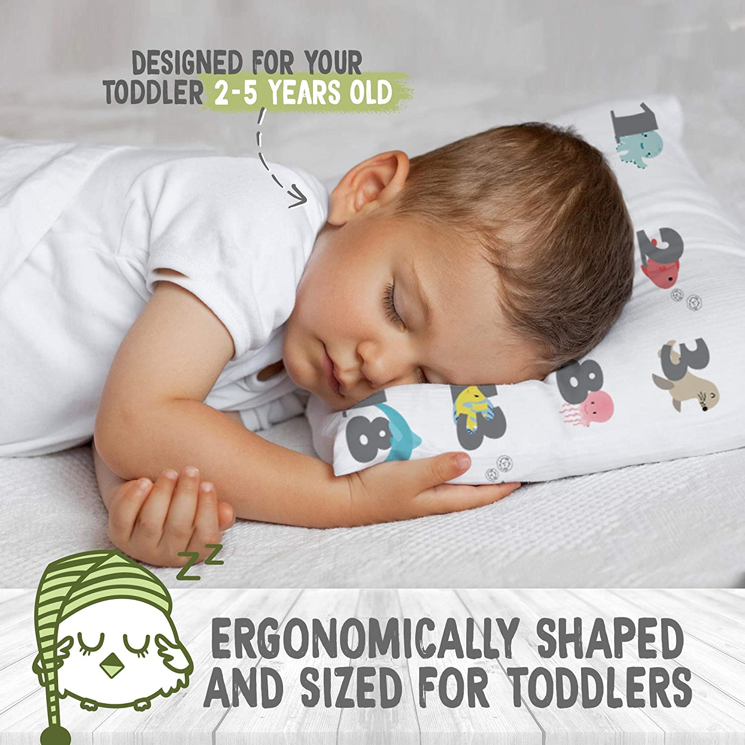 Toddler Cot Toddlers 13X18 Soft Organic Cotton Baby Pillows for Sleeping Kea123 Toddler Pillow with Pillowcase Machine Washable Bed Set Perfect for Travel Kids Infant