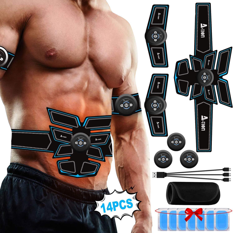 A-TION EMS Muskelstimulator Bauch Muskel Trainer Professioneller f/ür Frauen M/änner Bauch G/ürtel Fettverbrennung USB Wiederaufladbar mit 6 Modes Fitness Elektrostimulation