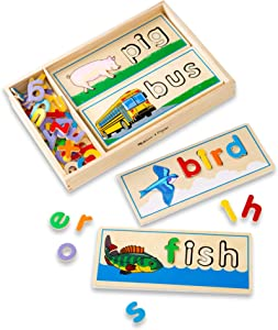 Melissa & Doug See & Spell Learning Toy (Developmental Toys, Wooden Case, Develops Vocabulary and Spelling Skills, 50 +Wooden Pieces, Great Gift for Girls and Boys - Best for 4, 5, and 6 Year Olds)