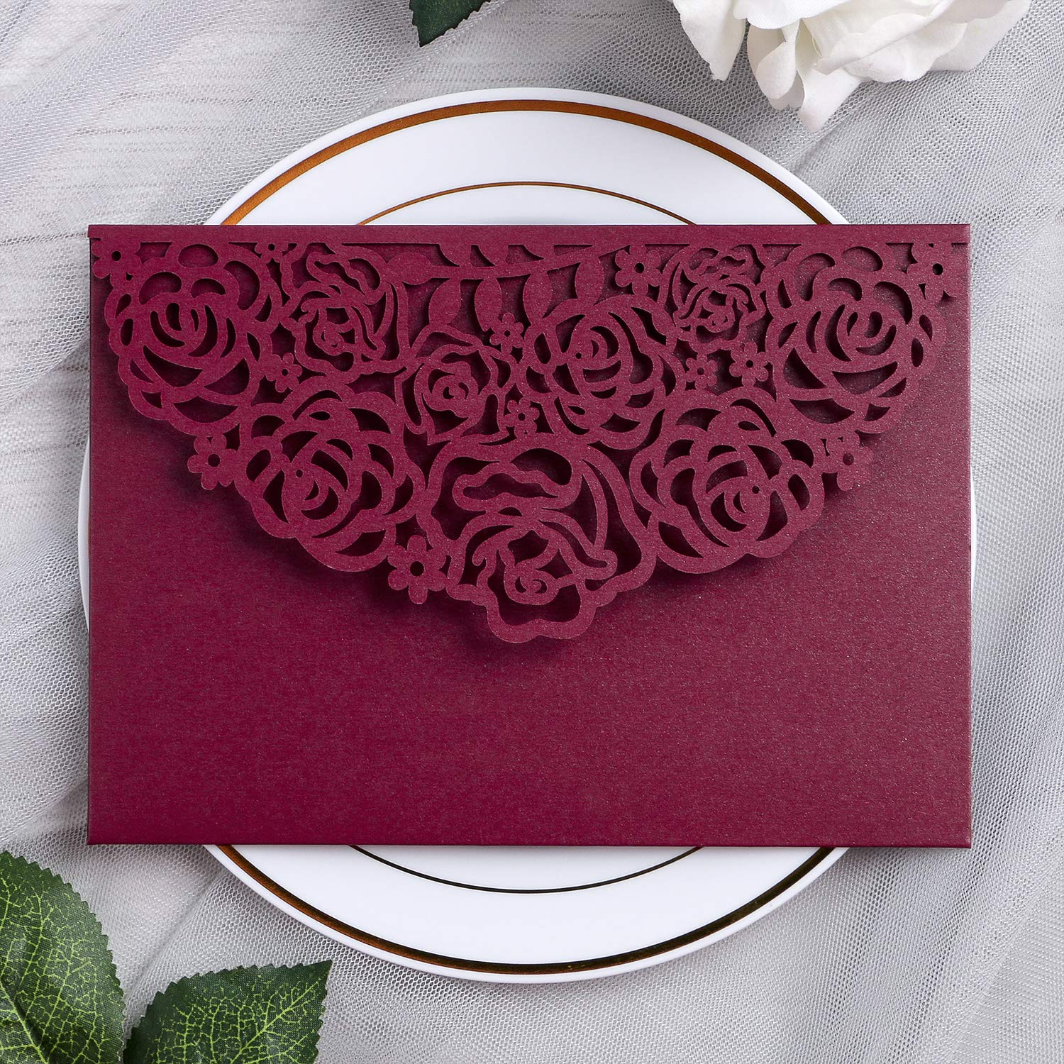 YIMIL 20 Pcs 5.12 x 7.21 inch Tri-fold Laser Cut Wedding Invitation Pocket for Wedding Quinceanera Bridal Shower Baby Shower Party Invite (Burgundy) by YIMIL