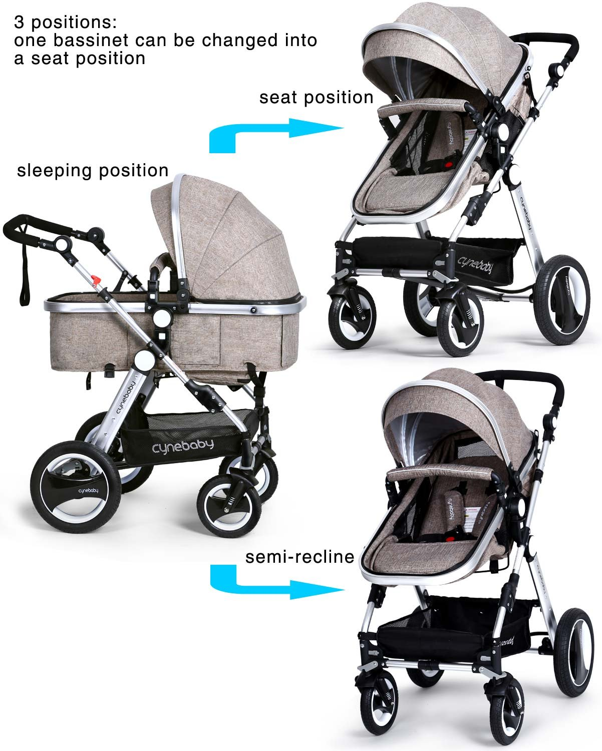 Infant Toddler Baby Stroller Carriage - Cynebaby Compact Pram Strollers add Tray (Khaki) by cynebaby (Image #5)