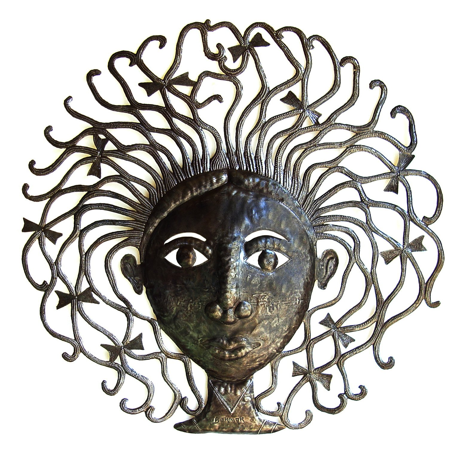 Le Primitif Galleries Haitian Recycled Steel Oil Drum Outdoor Decor, 33 by 33-Inch, Girl's Head
