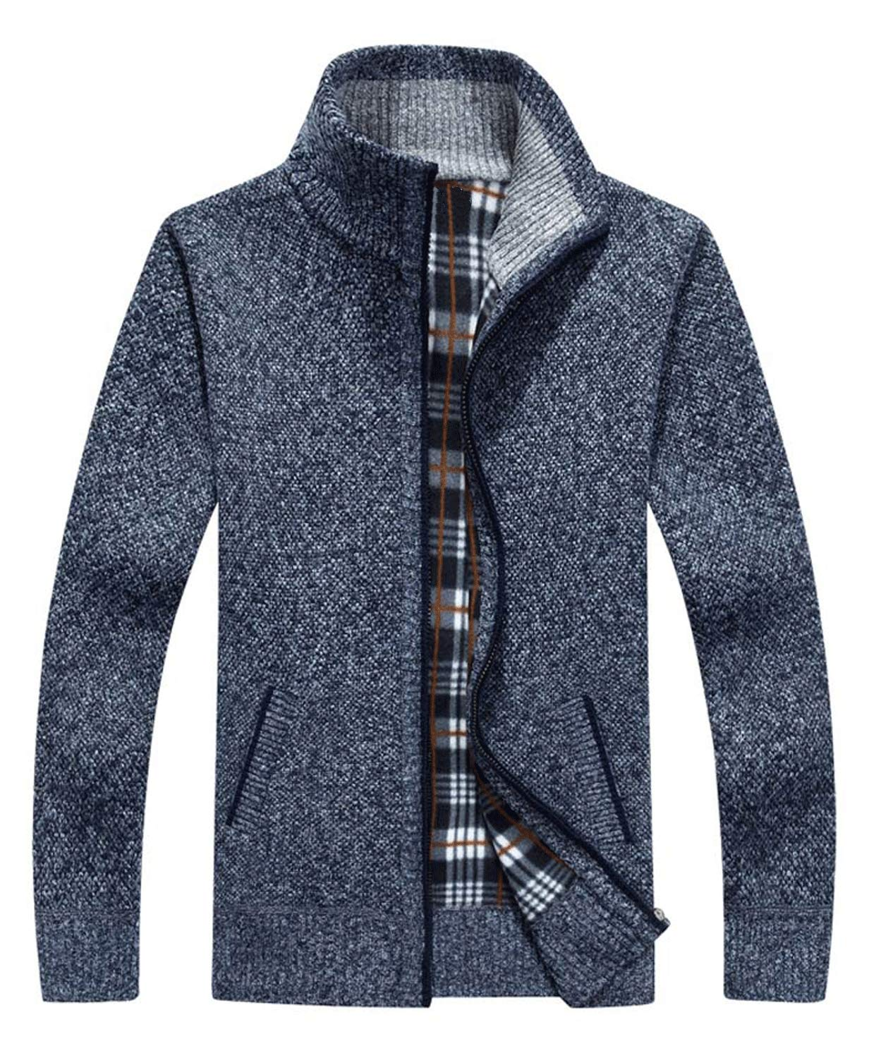 Vcansion Men's Classic Long Sleeve Full Zip Plus Soft Warm Knitted Cardigan Sweaters Coats Blue Grey XXL by Vcansion