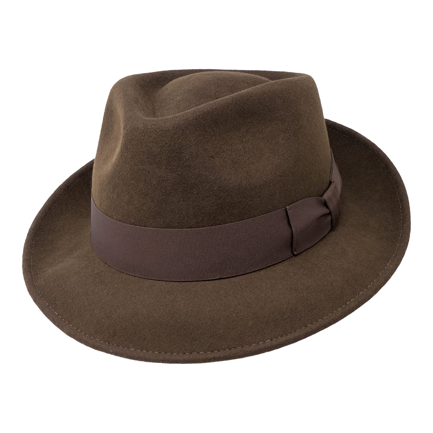 1940s Mens Hats | Fedora, Homburg, Pork Pie Hats Borges & Scott B&S Premium Doyle - Teardrop Fedora Hat - 100% Wool Felt - Crushable for Travel - Water Resistant - Unisex £34.95 AT vintagedancer.com