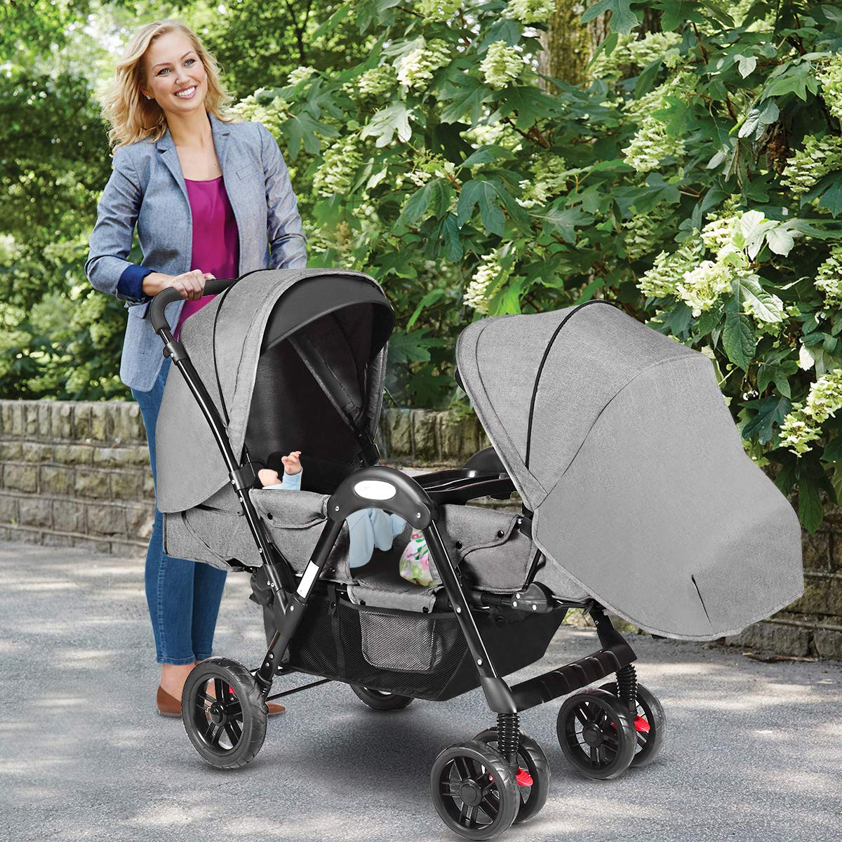 Costzon Double Stroller, Baby Face to Face Carriage with Sleep/Sit/Recline Seat, 5-Point Safety Harness, Detachable Food Tray, Large Storage Space, Gray by Costzon (Image #7)