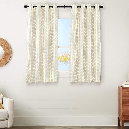 AmazonBasics Room-Darkening Blackout Curtain Set with Grommets – 52 x 63 , Beige Herringbone