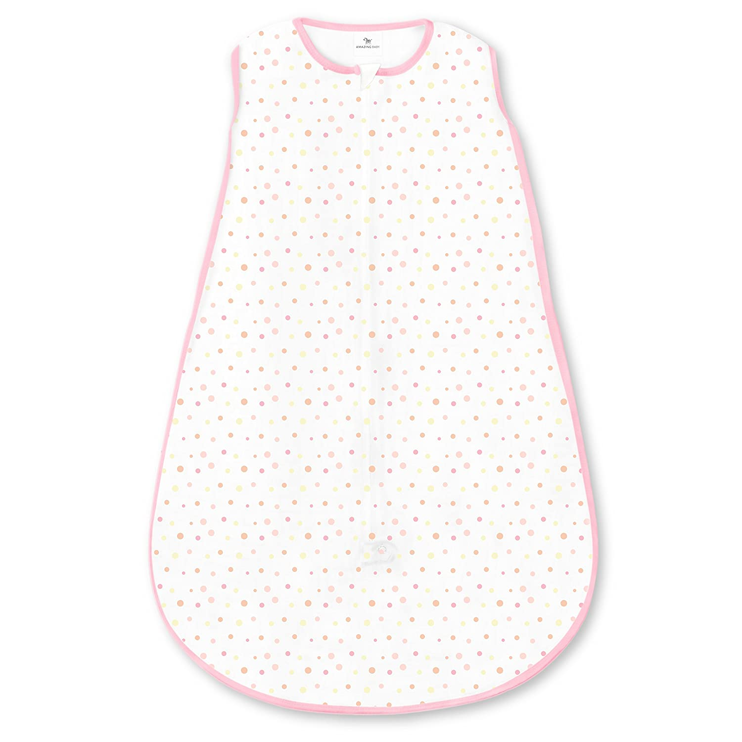 Amazing Baby Microfleece Sleeping Sack with 2-Way Zipper, Playful Dots, Sterling, Large SDA-1115ST-L