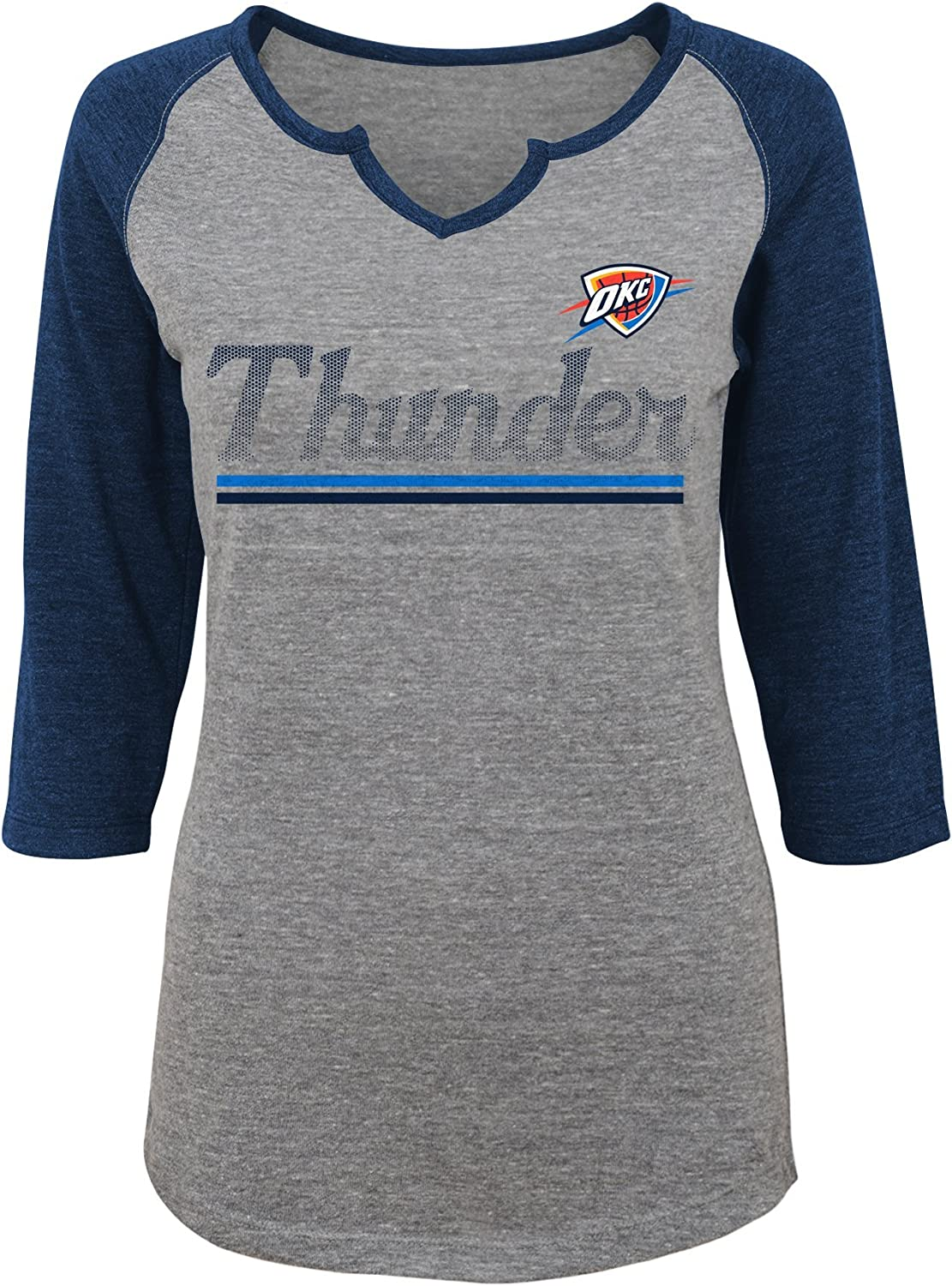 0-1 NBA Junior Girls Over the Line 3//4 Tee Shirt Oklahoma City Thunder-Dark Grey Heather-XS