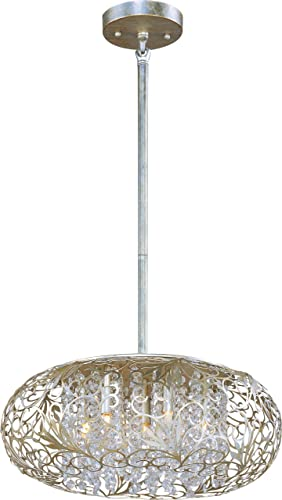 Maxim 24154BCGS Arabesque Patterned Metal Beveled Crystal Glass Pendant Ceiling Lighting, 7-Light Xenon 280 Watts, 8 H x 18 W, Golden Silver