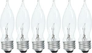 Set of 6 GE Crystal Clear 40 Watt Bent Tip Standard Base Light Bulbs