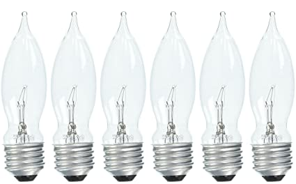 Set of 6 GE Crystal Clear 40 Watt Bent Tip Standard Base Light Bulbs  sc 1 st  Amazon.com & Set of 6 GE Crystal Clear 40 Watt Bent Tip Standard Base Light Bulbs ...