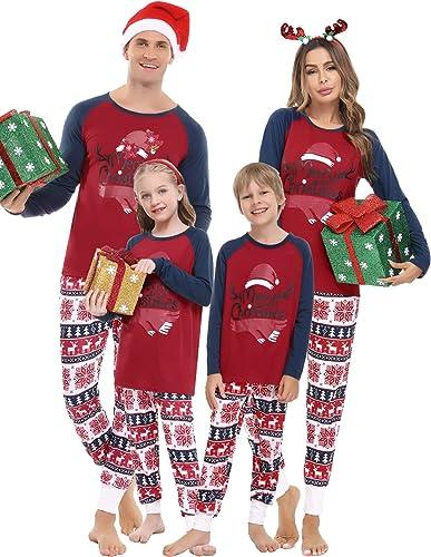 Pijama Navide/ños Hombre Mujer Camisetas y Pantalones de Manga Larga Ropa de Dormir Conjunto para Padres e Hijos Aiboria Pijamas Familiares Navidad