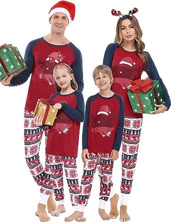 Aiboria Pijamas Familiares Navidad, Pijama Navideños Hombre Mujer Camisetas y Pantalones de Manga Larga Ropa de Dormir Conjunto para Padres e Hijos