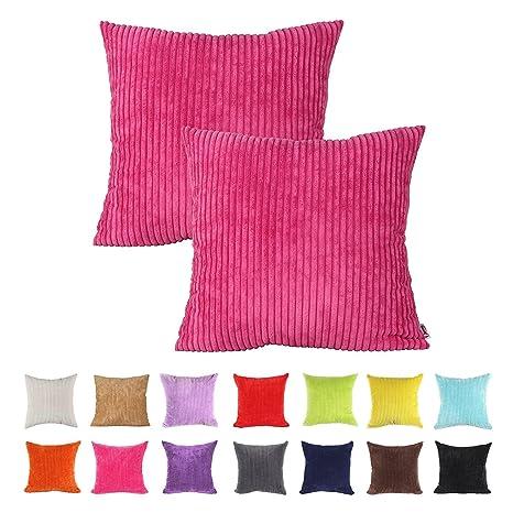IHRKleid® - Fundas de cojín decorativas para sofá - Color liso, algodón, Hot Pink, 40*40 cm