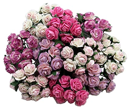 100 Pcs Mini Rose Mixed Pink Color Mulberry Paper Flower