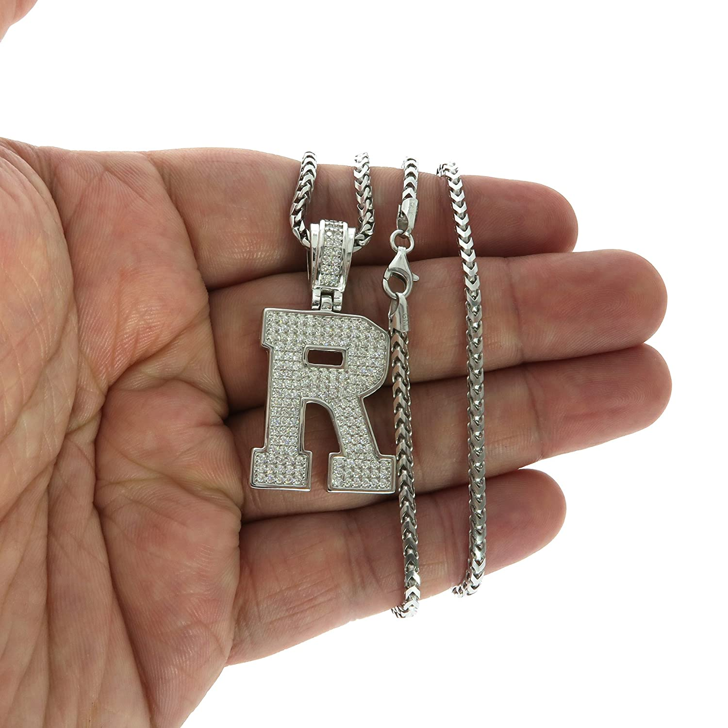 GOLDEN MOON .925 Sterling Silver CZ Initial Letter Pendant Franco Necklace Set Assorted Letters, Chain Lengths